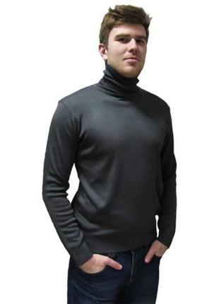 Гольф, мужской, демисезонный, чёрный, большой, водолазка, размер 56, 58, 62