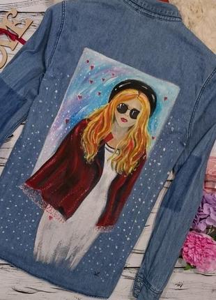 Джинсовая рубашка с росписью1 фото