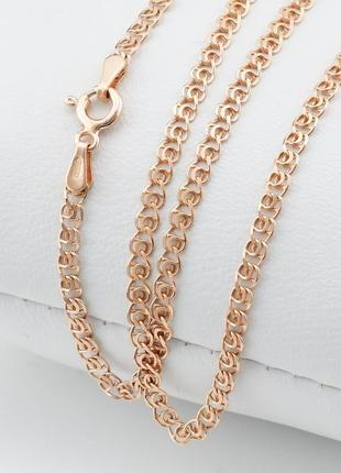 "Серебряная цепочка позолоченная ""love"", ширина 2.5 мм, вес 3.7 г, длина 50"
