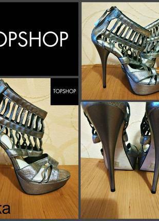 Открытые туфли на каблуке от topshop, оригинал , кожа , бразилия, р.37