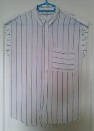 Женская рубашка блуза с карманом в полоску вискоза, next размер 10/38,
