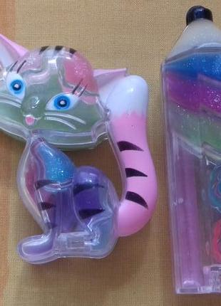 Новый набор детской косметики палетка бальзамы для губ с кистью