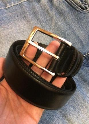 Фирменный кожаный черный ремень egon furstenberg italy,ремешок,пояс унисекс+подарок