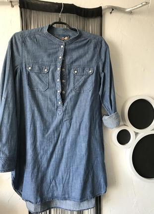Удлиненная асимметричная рубашка деним! туника, сорочка, рубаха