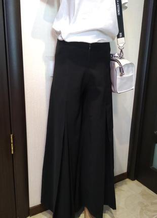 Вечерние брюки юбка в пол черные широкие высокая посадка