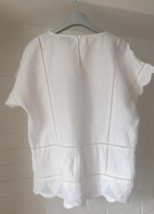 Белая блуза next лён размер 10uk наш 44-46-482 фото