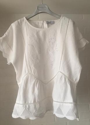 Белая блуза next лён размер 10uk наш 44-46-483 фото
