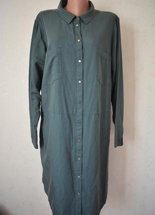 Джинсовое платье-рубашка большого размера