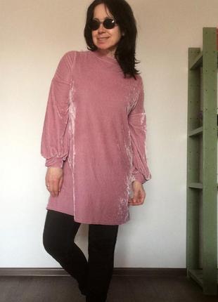 Велюровое платье-туника лавандового цвета primark