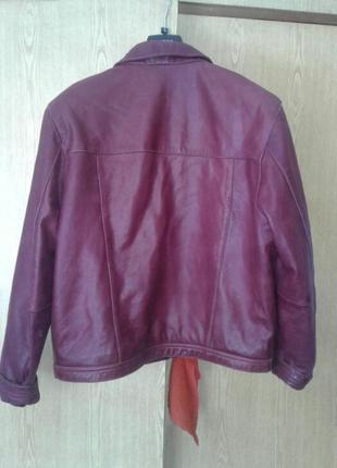 Кожаная куртка цвета марсала, xl - 2xl.4 фото