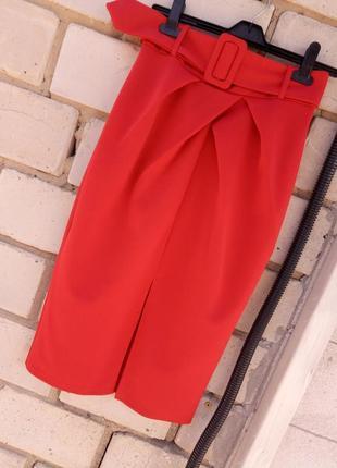 Крутая юбка по фигуре миди высокая посадка с поясом раз.m-l