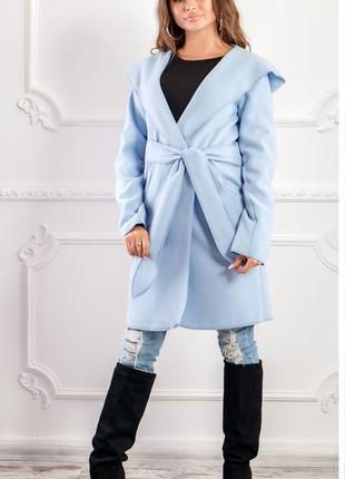 Модное пальто с капюшоном и поясом nobilitas голубой итальянский кашемир (арт. 18034)
