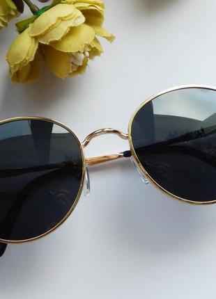 Солнцезащитные очки - уф защита - черные в золоте реальные фотографии!!2 фото