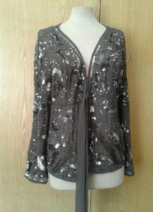 Шифоновый серый пиджак в пaетках, 3xl.3 фото