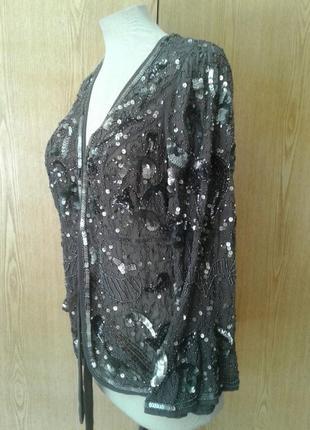 Шифоновый серый пиджак в пaетках, 3xl.4 фото