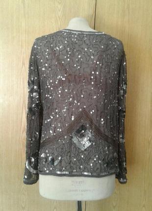 Шифоновый серый пиджак в пaетках, 3xl.5 фото