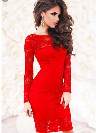 Шикарное алое ажурное платье
