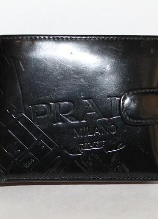 Оригинальный кожаный кошелек/портмоне prada с картой подлинности