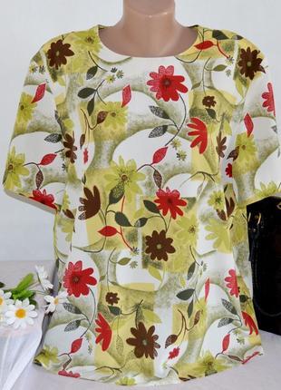 Брендовая блуза с коротким рукавом canda c&a принт цветы большой размер этикетка