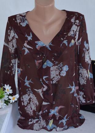 Брендовая коричневая шифоновая блуза с рукавом 3/4 next тунис принт птички цветы этикетка