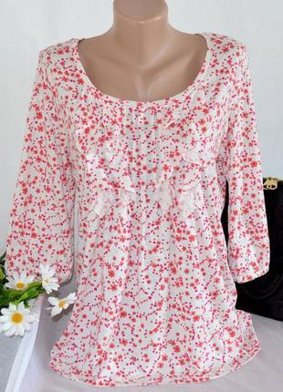 Брендовая блуза с рукавом 3/4 tu бангладеш коттон вискоза