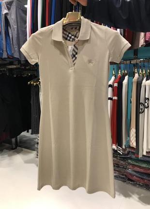 Платье поло burberry бежевое