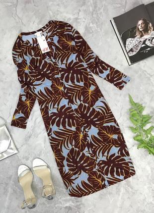 Платье рубашка в цветочный принт h&m