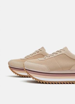 Пудровые кроссовки на платформе zara