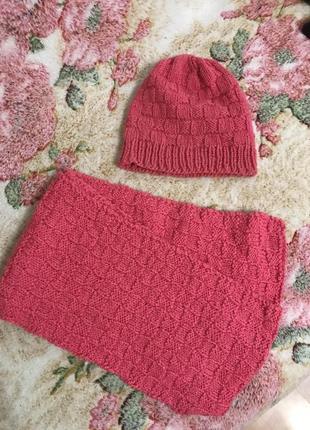 Набор шапка+шарф набор на осень весна