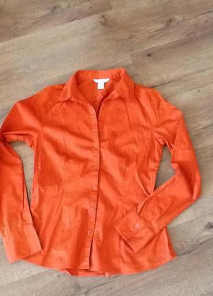 Темно-оранжевая рубашка slime h&m