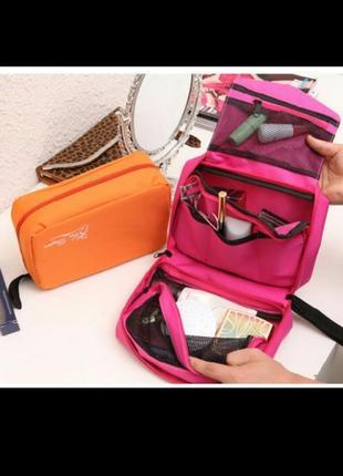 Дорожный органайзер для косметики и вещей в ванную сумка косметичка с крючком несессер