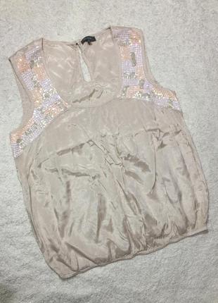 Нежная нарядная блуза топ в пайетках, пудрового цвета