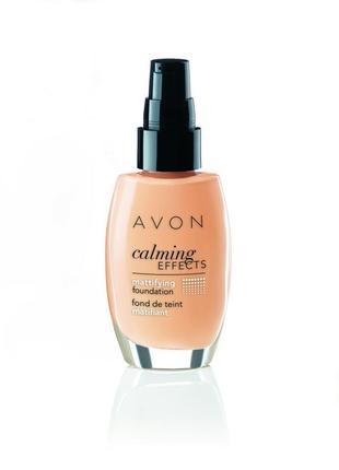 Calming effects матовый тональный крем  оттенок nude / натуральный эйвон avon