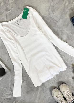 Базовый лонгслив в белом цвете  sh1914048 h&m