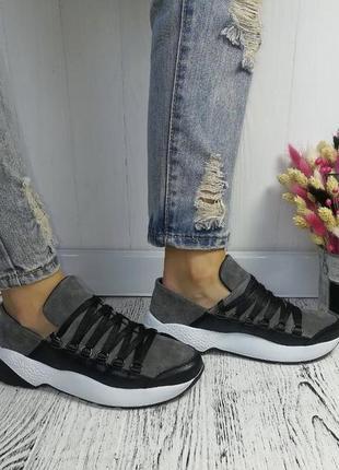 Новые женские черно-серые кожаные кроссовки