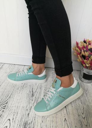 Новые женские зеленые кожаные кроссовки