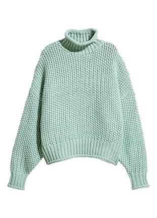 Объёмный мятный свитер оверсайз крупной вязки h&m