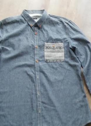 Мужская котоновая рубашка под джынс с орнаментом на кармашке 46-48