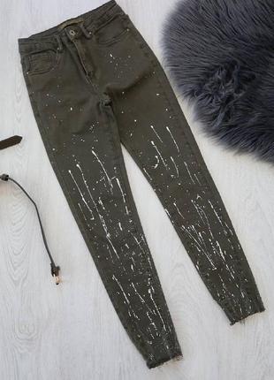 Крутые джинсы скинни с высокой посадкой3 фото