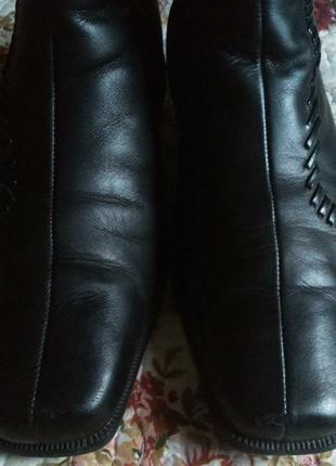 Распродажа! отличные теплые полусапожки  gabor черные натуральная кожа и мех размер 6.52