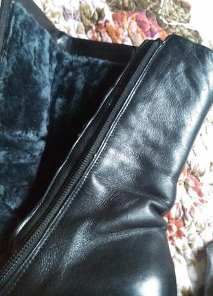 Распродажа! отличные теплые полусапожки  gabor черные натуральная кожа и мех размер 6.55