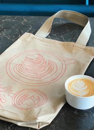 Эко-сумка-шоппер-торба @don.bacon коричневая с рисунком кофе