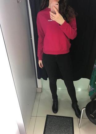 Розовая толстовка свитер свитшот худи футболка с длинным рукавом ostin