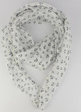 Итальянский шарф girandola 0001-13 белый с якорьками, коттон 80%, шелк 20%