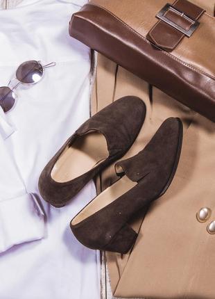 Коричневые замшевые туфли на низком каблуке, стильные лоферы hobbs
