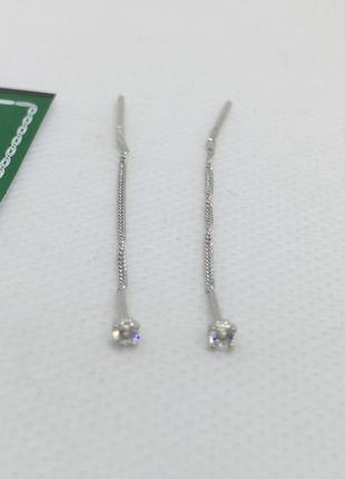 Новые родированые серебряные серьги протяжки 2,5 мм серебро 925 пробы