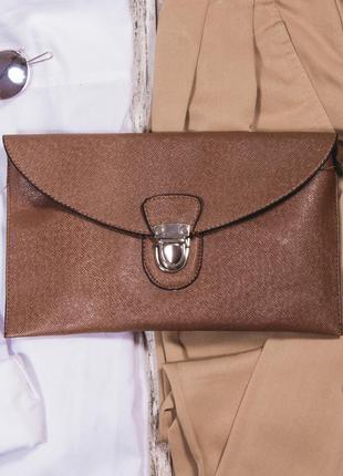 Минималистичный клатч из экокожи, утонченная маленькая сумка на длинном ремешке