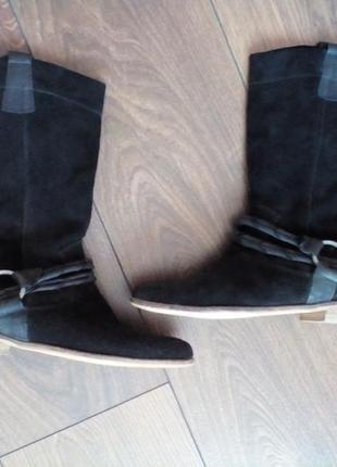 Сапоги чоботи деми демісезонні натуральний замш