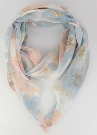 Итальянский шарф girandola 0001-63 белый с цветочным принтом, коттон 80%, шелк 20%
