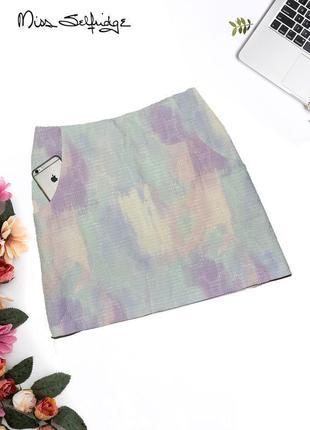 Новая юбка в абстрактный принт с карманами miss selfridge